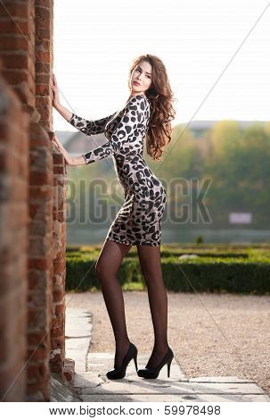 Fashion pretty young woman with long legs posing outdoor near a old brick wall. Beautiful woman