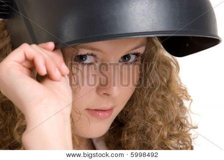 Beautiful  girl in welder mask