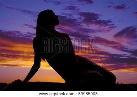 Silhouette Woman Sit Twis Look Side
