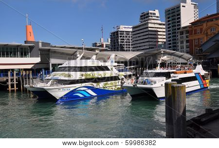 Ferry Boats Leaving Auckland Wharf, New Zealand