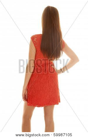 Woman Red Lacy Dress Back