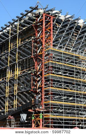LOS ANGELES, CA - February 17, 2014: Construction detail on The Broad. The museum by the philanthropist Eli Broad and architect Elizabeth Diller is scheduled to be completed in 2015.