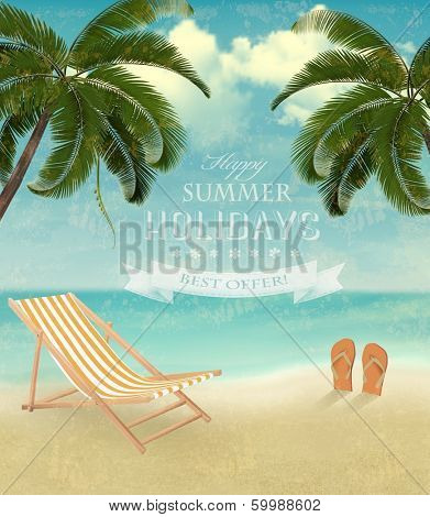 Vintage seaside background with a beach chair and flip-flops. Vector illustration