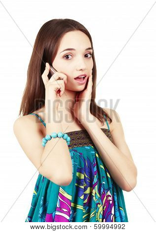 Excited Young Woman With Phone