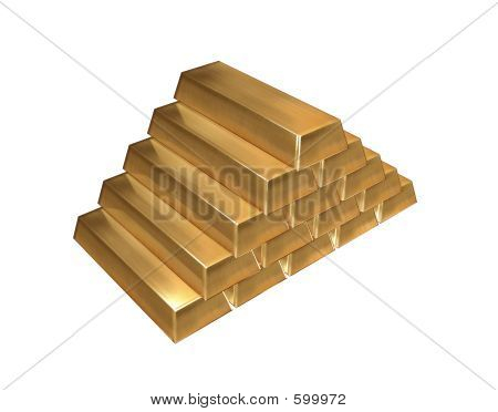Gold Ingots Isolated
