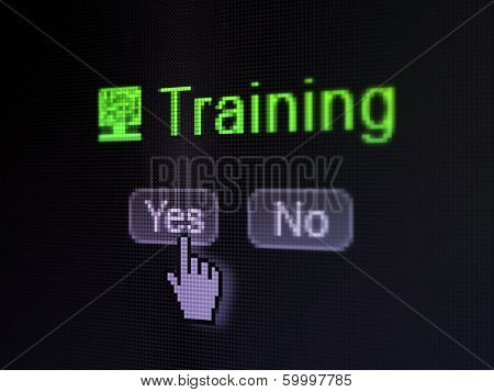 Education concept: Computer Pc icon and Training on digital computer screen