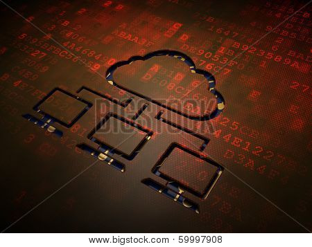 Cloud computing concept: Cloud Network on digital screen background
