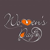 Happy Womens Day greeting card or poster design with stylish text on brown background.