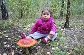 pic of face-fungus  - Little girl sitting in a forest near the fly agaric - JPG