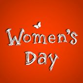 Happy Womens Day greeting card or poster design with stylish text on broght red background.