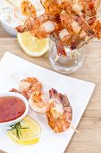 stock photo of tiger prawn  - Fresh made Tiger Prawn on a Skewer