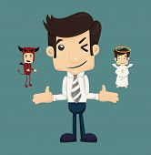 stock photo of angel devil  - Businessman wills with devil and an angel eps10 vector format - JPG