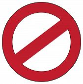 stock photo of bans  - vector illustration of a red prohibition sign - JPG