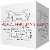 pic of medical marijuana  - Medical Marijuana 3D cube Word Cloud Concept with great terms such as therapy legalize patient and more - JPG