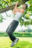 image of pull up  - Young man exercising chins or pull ups in City Park under summer trees for sport fitness - JPG