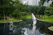 stock photo of petronas twin towers  - Park near the Petronas Twin Towers in Kuala Lumpur Malaysia - JPG