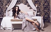 pic of silver-hair  - beautiful woman in silver elegant dress with black hair in luxury interior - JPG