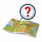 stock photo of prospectus  - City map booklet with question mark on white background - JPG