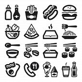 stock photo of junk food  - Set of black flat icons about fast food and junk food - JPG