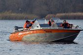 KIEV, UKRAINE -NOV 3: Ukrainian Civil Protection lifeboat during historical reenactment of WWII, Dne