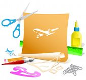 Airliner. Paper template. Raster illustration.