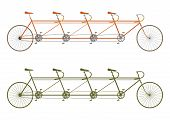 image of four-wheel drive  - Silhouette of a vintage four seater tandem bike on a white background - JPG