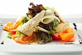 stock photo of caesar salad  - Caesar Salad with Salmon - JPG