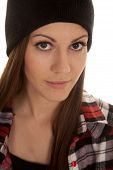Woman In Beanie And Plaid Shirt Close Look Smile