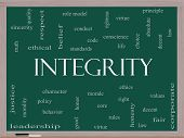 pic of integrity  - Integrity Word Cloud Concept on a Blackboard with great terms such as virtue code conduct and more - JPG