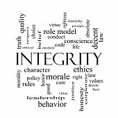 foto of conduction  - Integrity Word Cloud Concept in black and white with great terms such as virtue code conduct and more - JPG