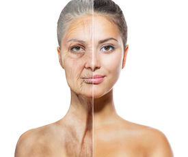 stock photo of wrinkled face  - Aging and Skin care concept - JPG