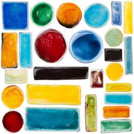 picture of raku  - Big size set of handmade glazed ceramic elements isolated on white - JPG