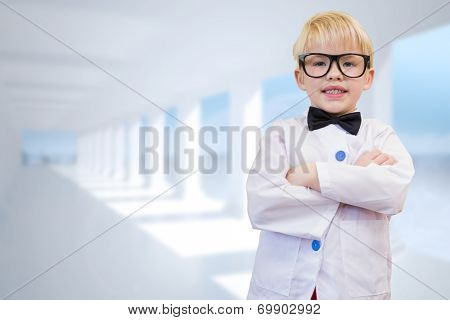 Cute pupil dressed up as teacher against bright white room with columns