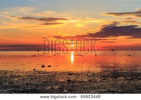 Cruise Liner Ship In Sunset In Sea