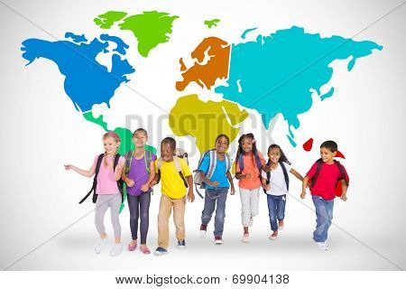 Elementary pupils running against white background with world map