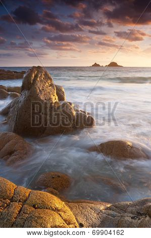 Vibrant Beach Sunset Cornwall England