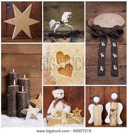 Natural Christmas Decoration With Wood. Different Objects In Square Format.