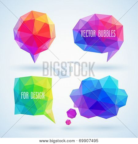 Colorful geometric bubbles set for speech. Vector illustration.