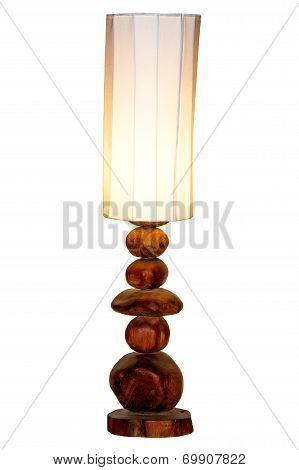 Handmade Lamp and Lampshade, Isolated on White Background