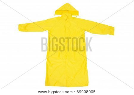 Yellow Waterproof Rain Coat, Isolated on White Background