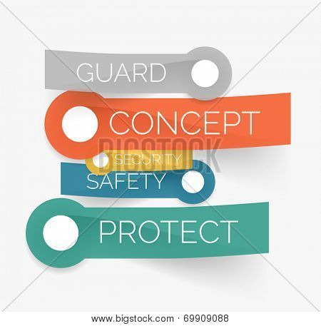 Vector protection tag cloud of stickers - guard, security, safety, protect words