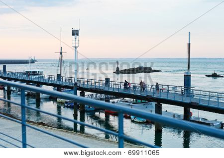 Pier In Le Croisic Town, France At Sunset