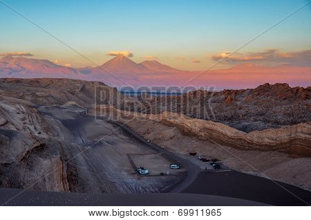 View Of Volcan Licancabur From Valle De La Luna Near San Pedro De Atacama, Chile