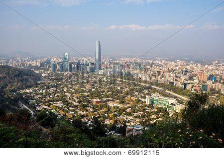 View Of Santiago's Skyline From Cerro San Cristobal, Chile