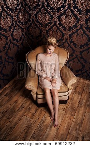 Romantic Blonde Woman Posing