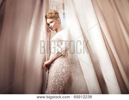Elegant Blonde Woman Posing.