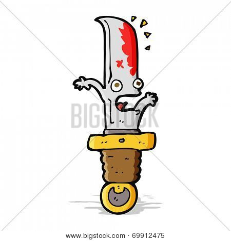 cartoon bloody knife character