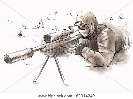 Sniper (shooter) - Hand Drawn Vector