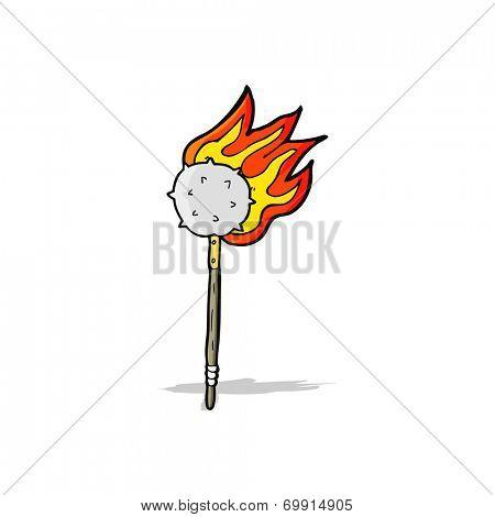 cartoon flaming mace