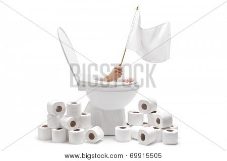 Hand arising from a toilet and holding a white flag isolated on white background